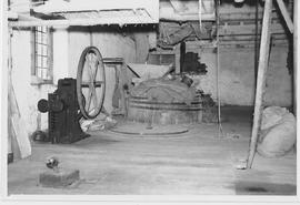 Breamore Mill, Breamore, internal, stones floor, with turbine  control