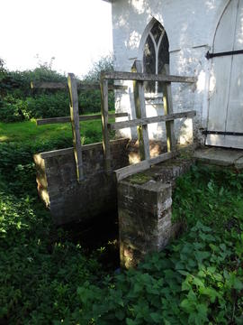 Overflow channel(?) at pump house, Combined Mill, Little Cressingham