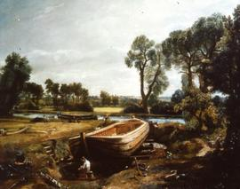"""Constable, V&A Museum, Boat building near Flatford Mill, 1815"""