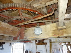 Great spur wheel and upright shaft support frame, tower mill, Quainton