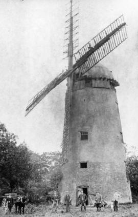 Unidentified tower mill with a shooting party