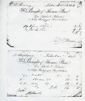 Bills issued by Thomas Bax