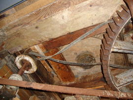 Tail great spur wheel, governor and belt drum, post mill, Friston, Suffolk
