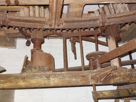 Great spur wheel, stone nut, tentering gear and auxiliary drive nut, tower mill, Old Buckenham