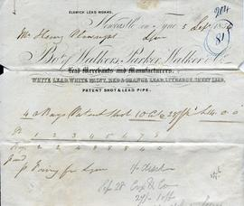Billhead receipt of Walkers, Parker and Walker Co, Elswick Lead Works, Newcastle on Tyne