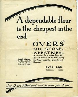 Advertising poster for Over's flour