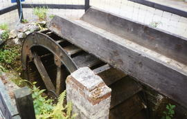Cosawes gunpowder works waterwheel - now in caravan park