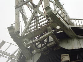 looking up at fantail, fanstage and winding gear, Cattell's mill, Willingham