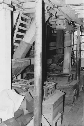 Cobbs Mill, Sayers Common, internal, stone floor with crane