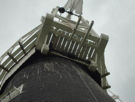 Looking up at fantail and winding gear, High Street Mill, Wicklewood