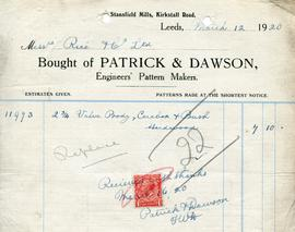 Billhead receipt of Patrick and Dawson, Engineers' Pattern Makers, Stansfield Mills, Leeds
