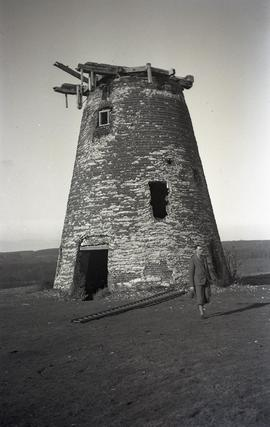 """As it was before restoration in 1935, Windmill at Halnaker, Sussex"""