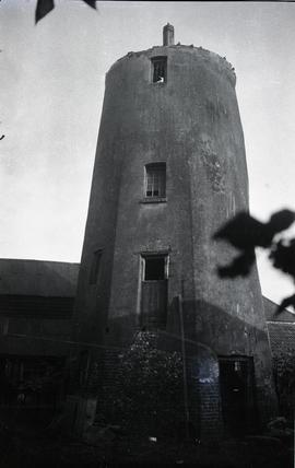 """Windmill at Beaconsfield, Bucks - close up view of tower after removal of slated upper port..."