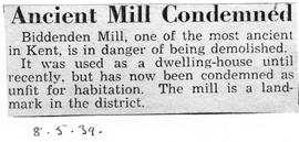 """Ancient Mill Condemned"""