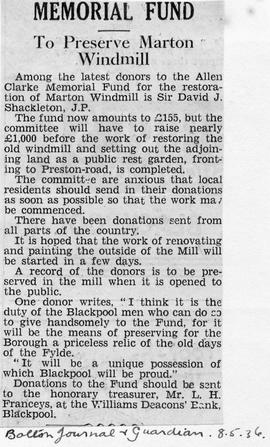 """Memorial Fund - To Preserve Marton Windmill"""