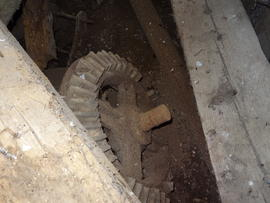 Bevel gear for machine drive on stone spindle, tower mill, Upper Dean