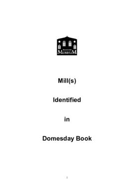 Mill(s) identified in Domesday Book