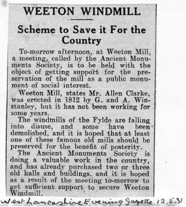 """Weeton Mill - Scheme to save it for the country"""