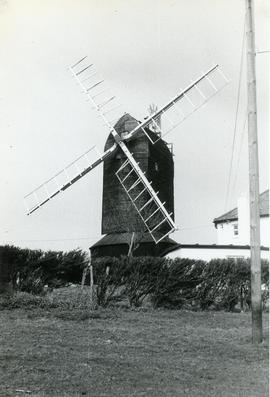 Exterior view, post mill, Hog Hill, Icklesham, Sussex