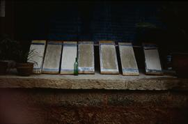 Lijiang. Dongba last. Paper drying on boards