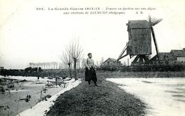 Zouave soldier near a post mill in the Diksmuide area.