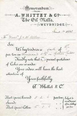 Letterhead of A Whittet and Co, Ham Oil Mills, Weybridge