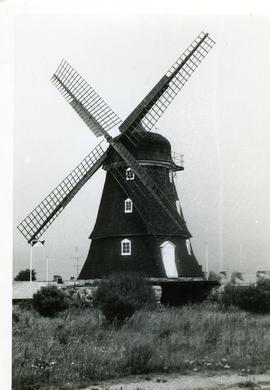 Preserved smock mill at unidentified location in Sweden, summer 1974 (same mill as in GUYB-FW2-044)