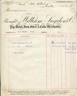 Billhead receipt of William Sugden and Co, Marshall Mills, Leeds