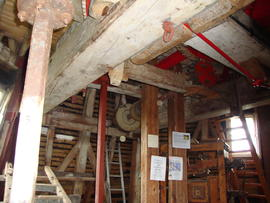 View of stone floor showing sack hoist drive, Cattell's smock mill, Willingham