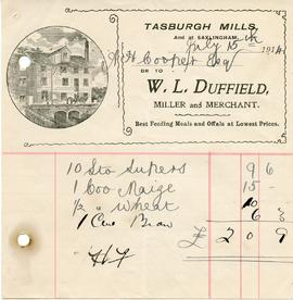 Bill from W L Duffield, Tasburgh Mills