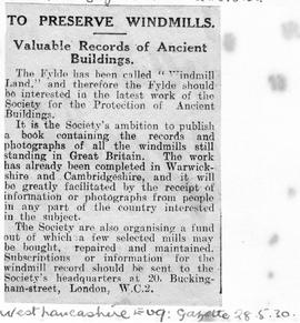 """To Preserve Windmills - Valuable Records of Ancient Buildings"""