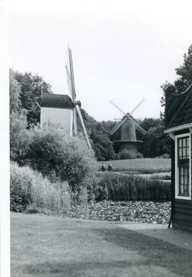 Post and tower mill in Arnhem Open Air Museum, Holland, summer 1971