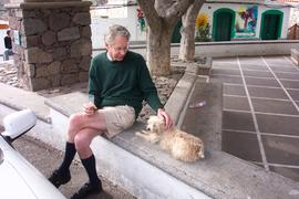 Vincent Pargeter with dog, Gran Canaria