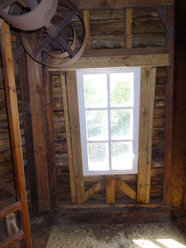 Detail of stone floor framing showing window, smock mill, Crowfield
