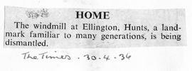 """HOME - The windmill at Ellington, Hunts"""