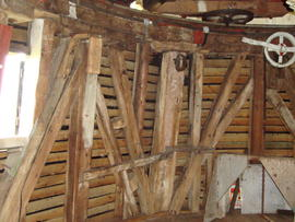 Detail of dust floor framing, Cattell's smock mill, Willingham