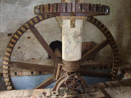 Crown wheel, upright shaft and pit wheel, Polkey's Mill, Reedham