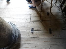 Main post and sack trap on spout floor, Pitstone Windmill, Pitstone