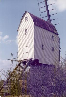 Exterior view of post mill under repair, Garboldisham, Norfolk