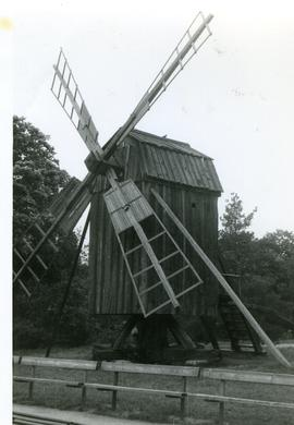 Preserved post mill in open-air museum at Stockholm, Sweden, summer 1974