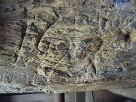 1627(?) date on side girt, Pitstone Windmill, Pitstone