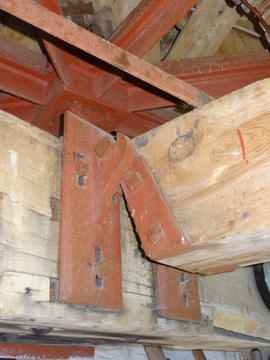 Attachment of tentering gear support timber to bridgebeam, tower mill, Quainton