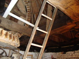 Brakewheel, cap frame and wallower, Great Mill, Haddenham