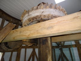 Wallower, upright shaft and sack hoist support frame, Beacon Mill, Benenden