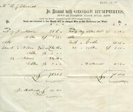 Account  of Mr H G Thomas with Town, Bathwick and Kingston Flour Mills Bath (George Humphries)