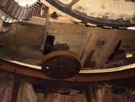 Cap frame, truck wheel and curb, Impington Mill, Histon and Impington