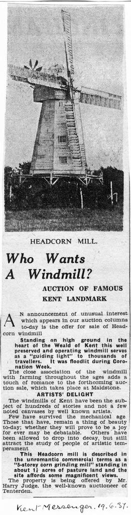 """Who wants A Windmill - Auction of famous Kent Landmark"""