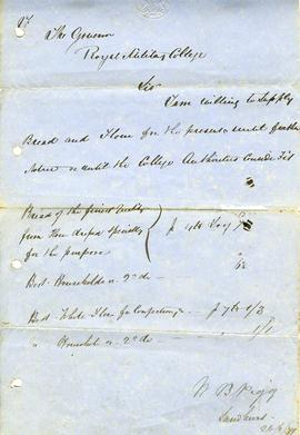 Contract to supply bread to the Royal Military College