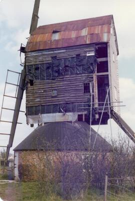 Exterior view of post mill under restoration, Garboldisham, Norfolk