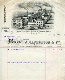 Billhead receipt of A Sanderson and Co, Hull